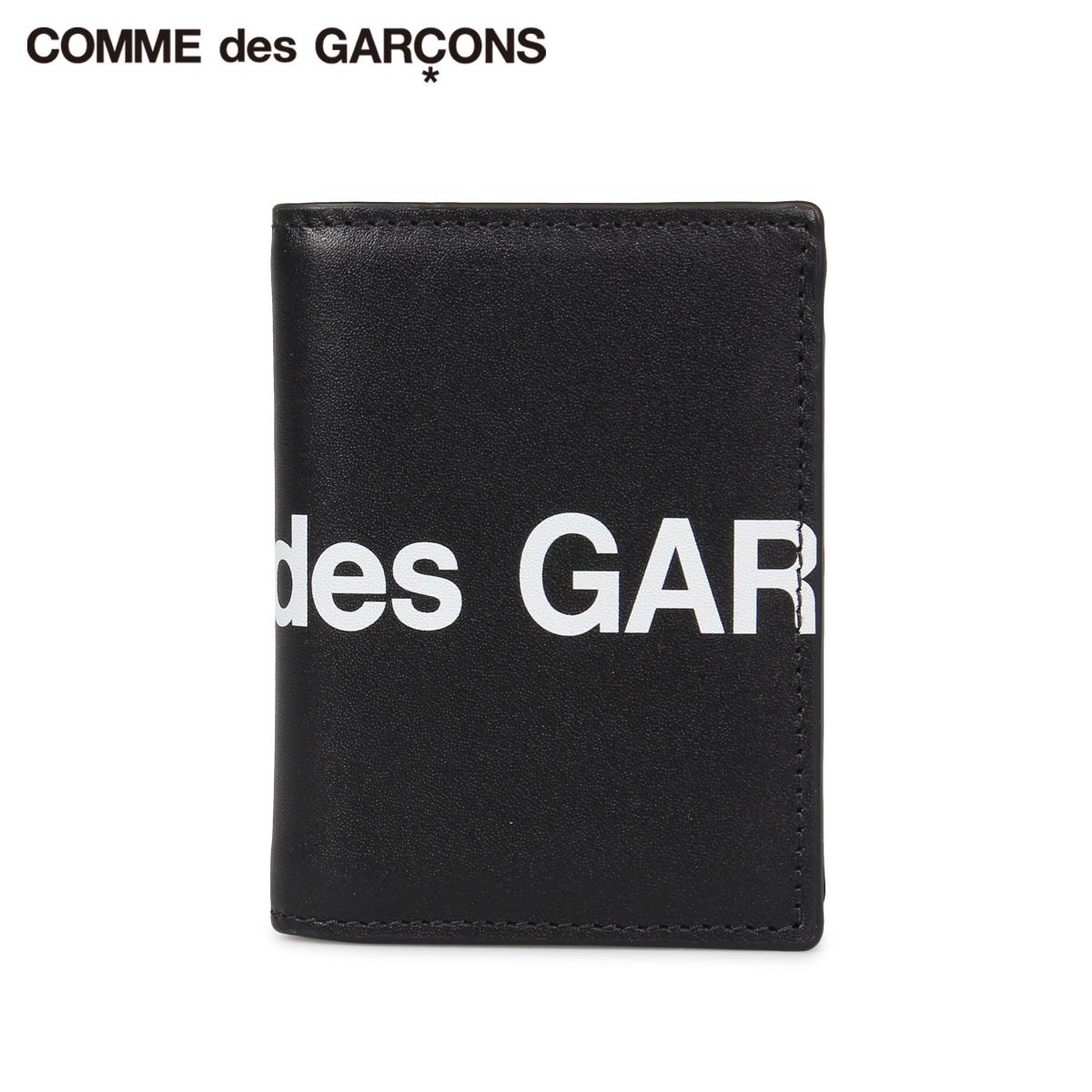 COMME des GARCONS HUGE LOGO WALLET コムデギャルソン 財布 二つ折り メンズ レディース 本革 ブラック 黒 SA0641HL