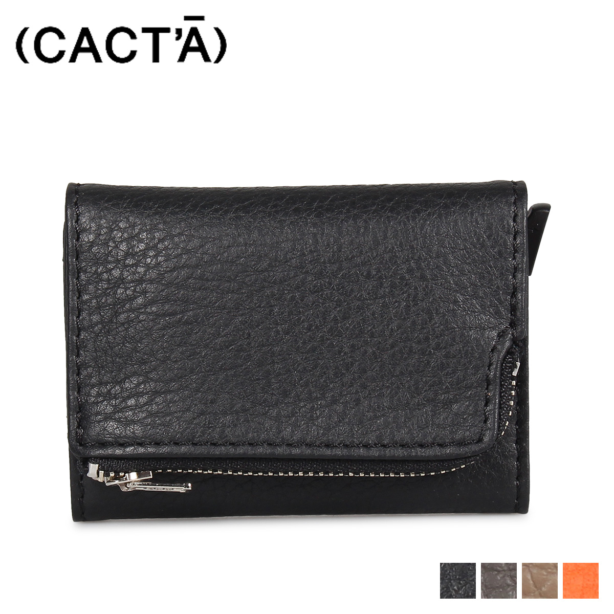 CACTA PAYMENT HUNTER WALLET REMY カクタ 財布 ミニ財布 三つ折り メンズ レディース 本革 ブラック グレー ブラウン オンレジ 黒 2004