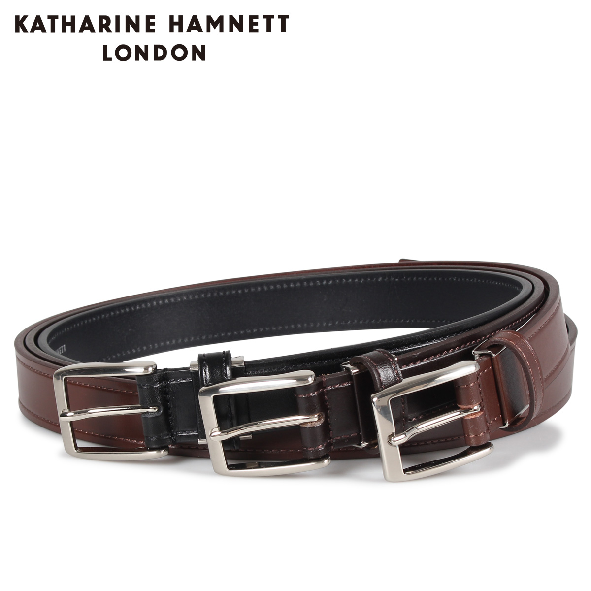 KATHARINE HAMNETT LONDON LEATHER BELT キャサリンハムネット ロンドン ベルト レザーベルト メンズ 本革 ブラック ブラウン ダーク ブラウン 黒 KH505025 [10/15 新入荷]