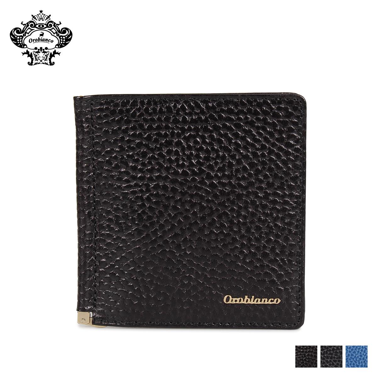 Orobianco MONEY CLIP オロビアンコ 財布 二つ折り マネークリップ メンズ 本革 ブラック ネイビー ブルー 黒 ORS-021508
