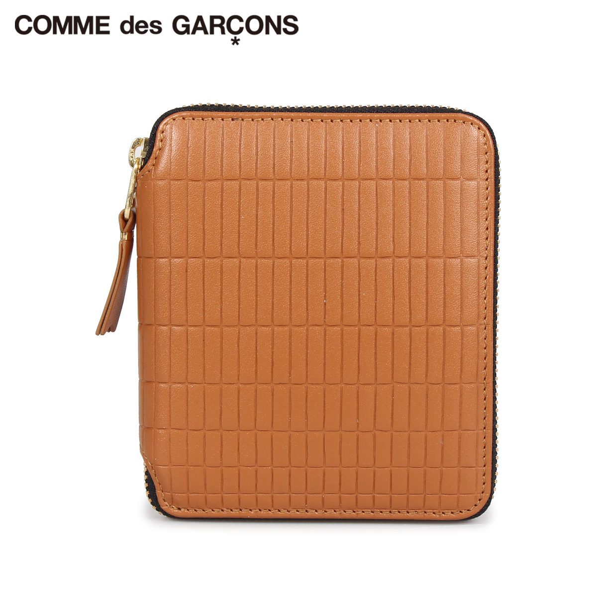 COMME des GARCONS BRICK WALLET コムデギャルソン 財布 二つ折り メンズ レディース ラウンドファスナー 本革 ベージュ SA2100BK