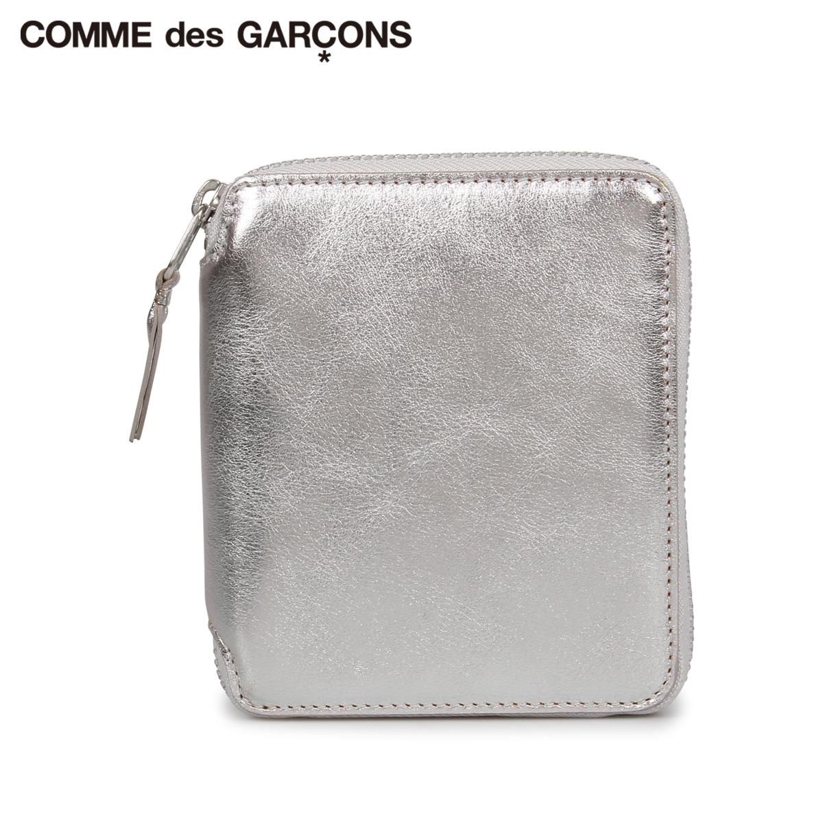 COMME des GARCONS GOLD AND SILVER WALLET コムデギャルソン 財布 二つ折り メンズ レディース ラウンドファスナー 本革 シルバー SA2100G