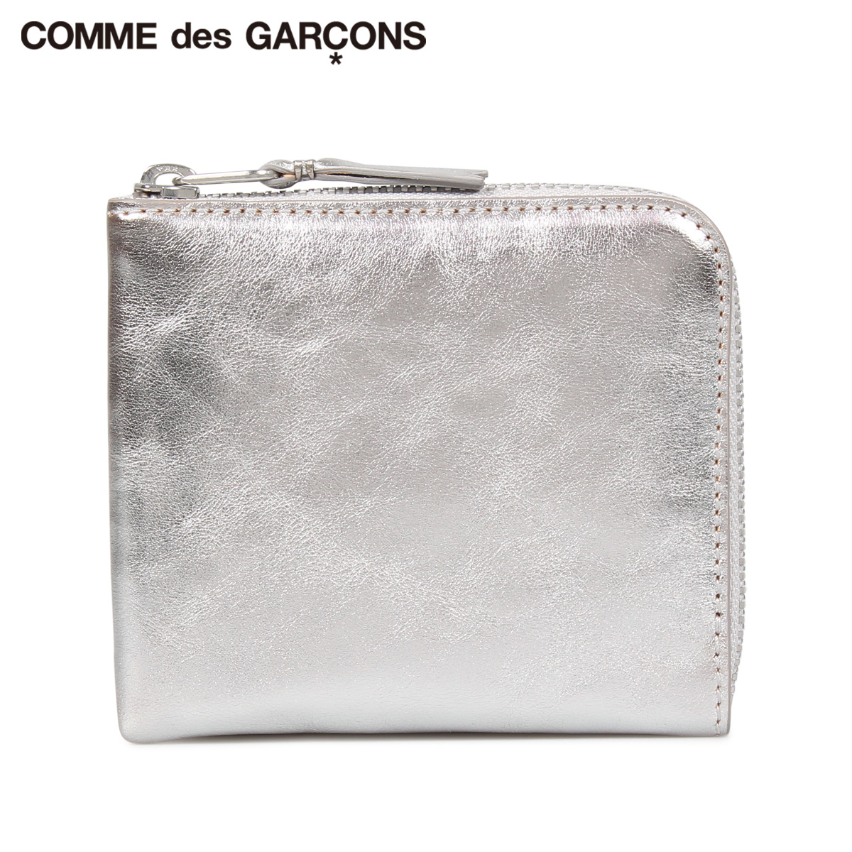COMME des GARCONS GOLD AND SILVER WALLET コムデギャルソン 財布 ミニ財布 メンズ レディース L字ファスナー 本革 シルバー SA3100G [10/10 新入荷]
