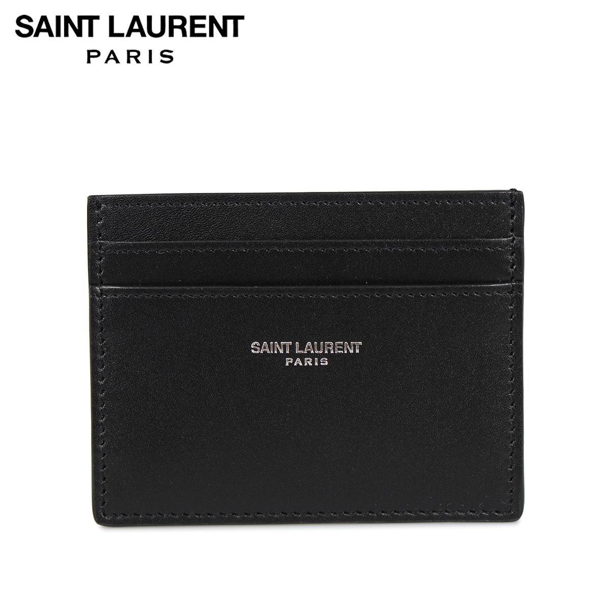 SAINT LAURENT PARIS YSL CREDIT CARD CASE サンローラン パリ パスケース カードケース ID 定期入れ メンズ 本革 ブラック 黒 3759460U90N