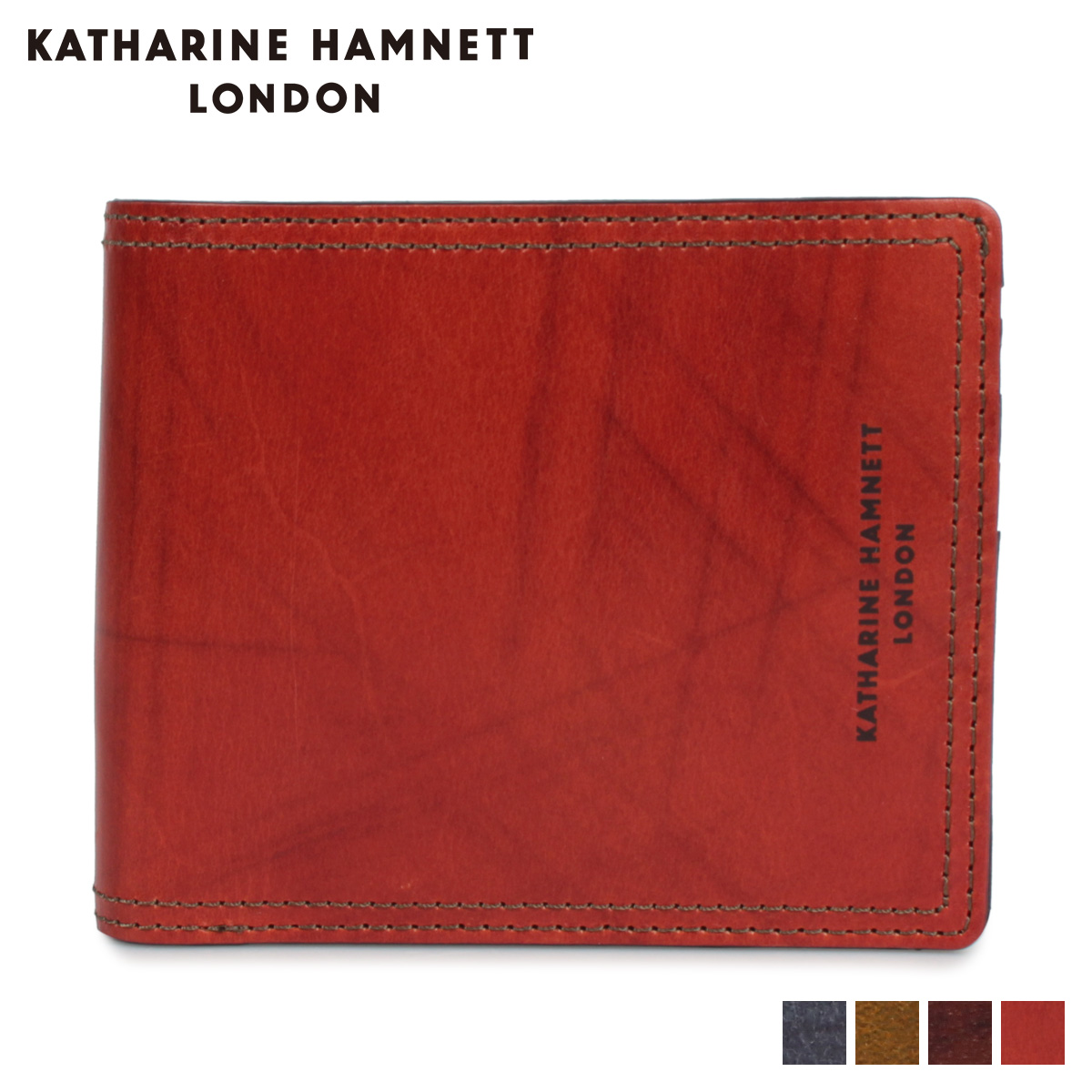 KATHARINE HAMNETT LONDON MINI WALLET キャサリンハムネット ロンドン 財布 二つ折り メンズ ネイビー オリーブ ダーク ブラウン KH-1212015 [11/8 新入荷]