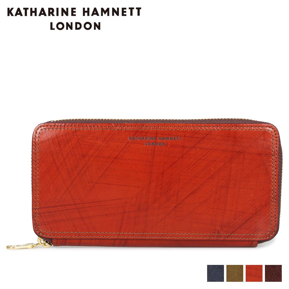 KATHARINE HAMNETT LONDON WALLET キャサリンハムネット ロンドン 財布 長財布 メンズ ラウンドファスナー ネイビー オリーブ ブラウン ダークブラウン KH-1214015