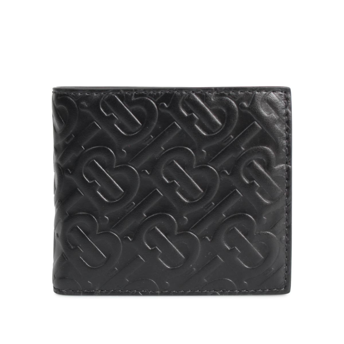 BURBERRY MONOGRAMED LEATHER BILL COIN WALLET バーバリー 財布 二つ折り メンズ ブラック 黒 8017655