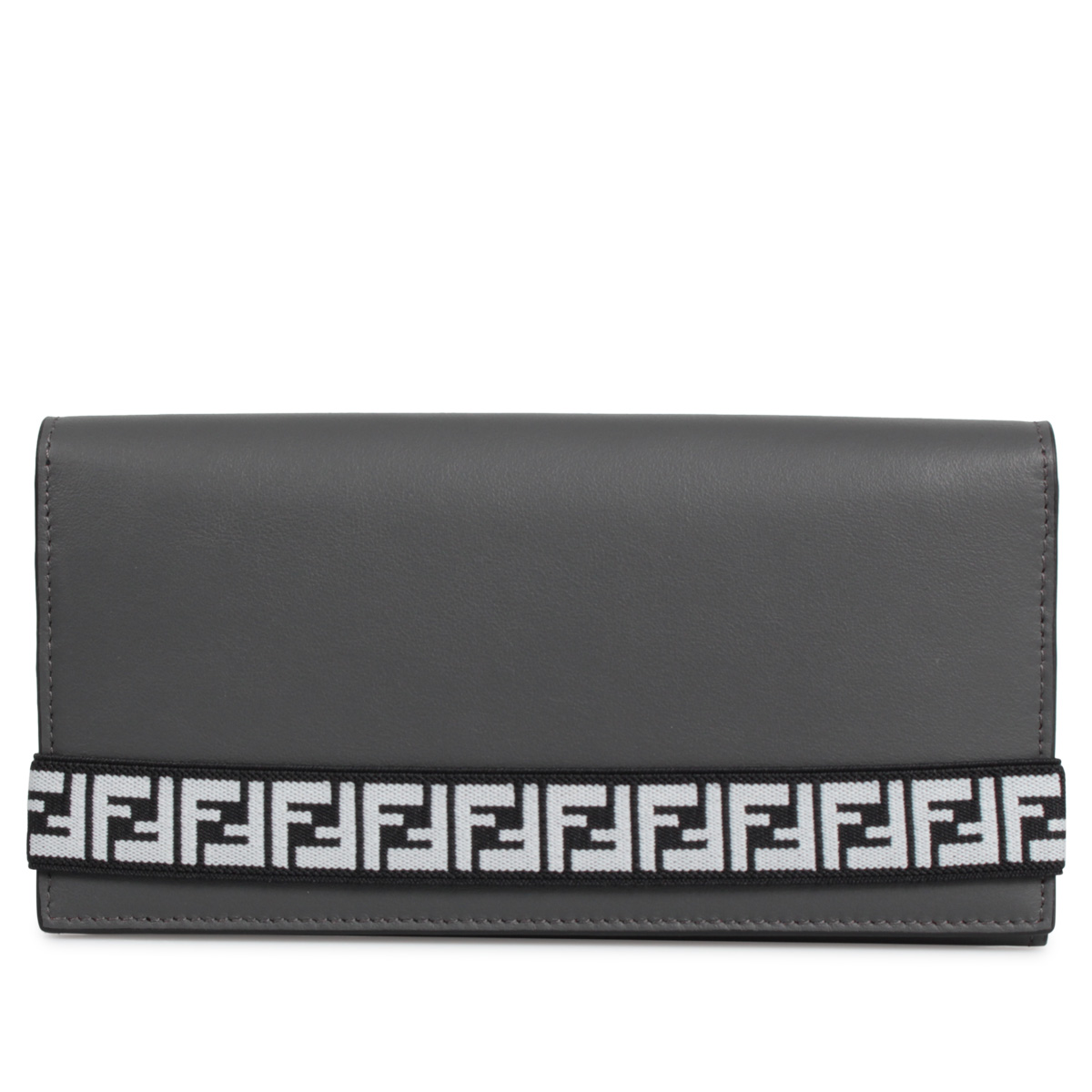 FENDI BRANDED CONTINENTAL WALLET フェンディ 財布 長財布 メンズ レディース グレー 7M0268 A8VC
