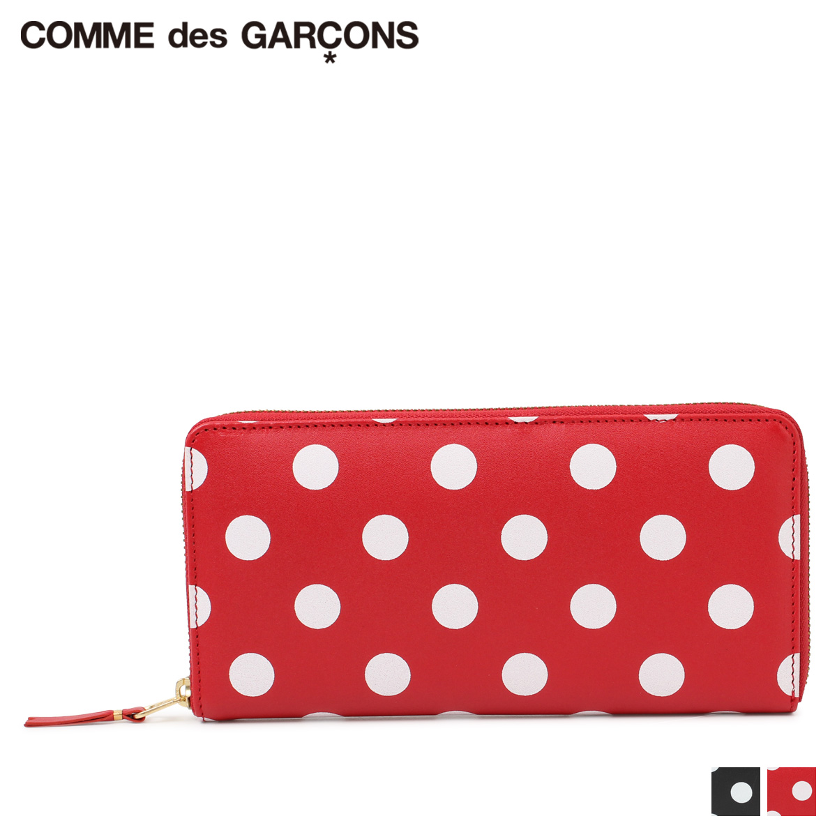COMME des GARCONS POLKA DOTS PRINTED コムデギャルソン 財布 長財布 メンズ レディース ラウンドファスナー ポルカドットプリント ブラック レッド 黒 SA0110FL