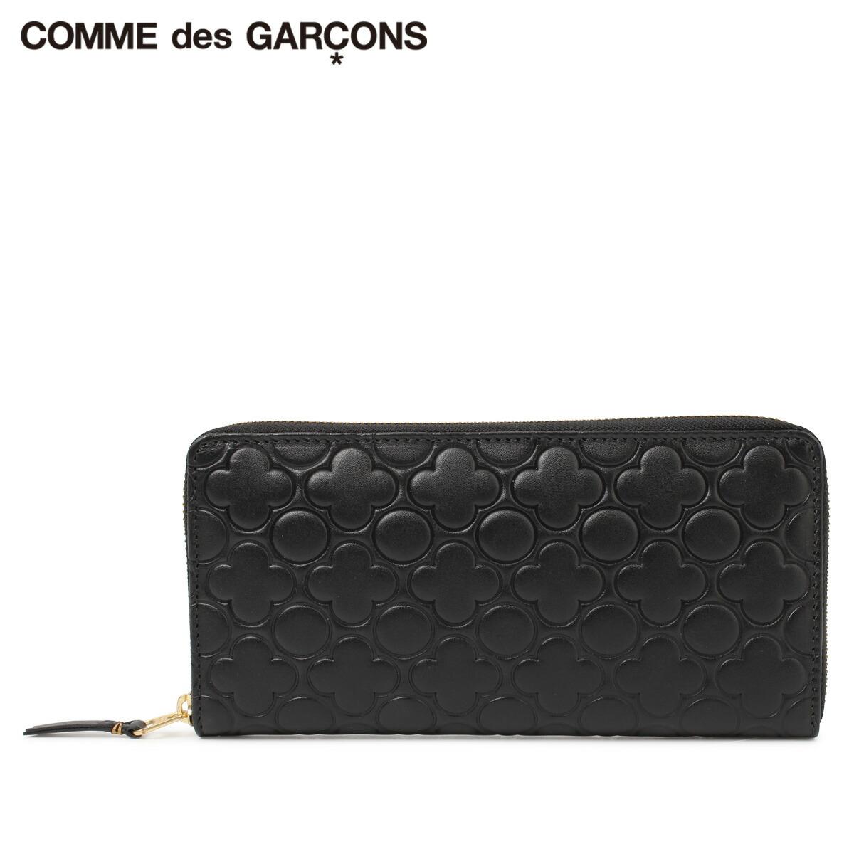 COMME des GARCONS EMBOSSED コムデギャルソン 財布 長財布 メンズ レディース ラウンドファスナー エンボス ブラック 黒 SA011EB