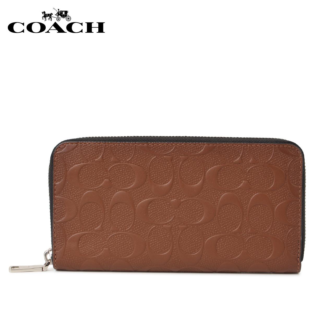 COACH F24667-SAD コーチ 財布 長財布 メンズ ラウンドファスナー シグネチャー ブラウン