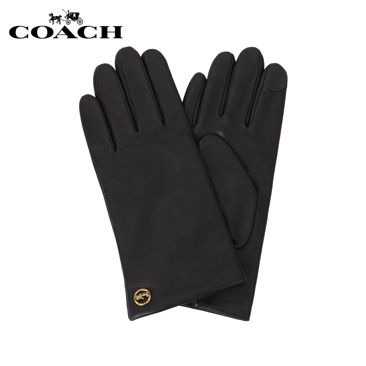 COACH F76310-BLK コーチ 手袋 グローブ レディース 本革 スマホ ブラック 黒 [11/25 新入荷]