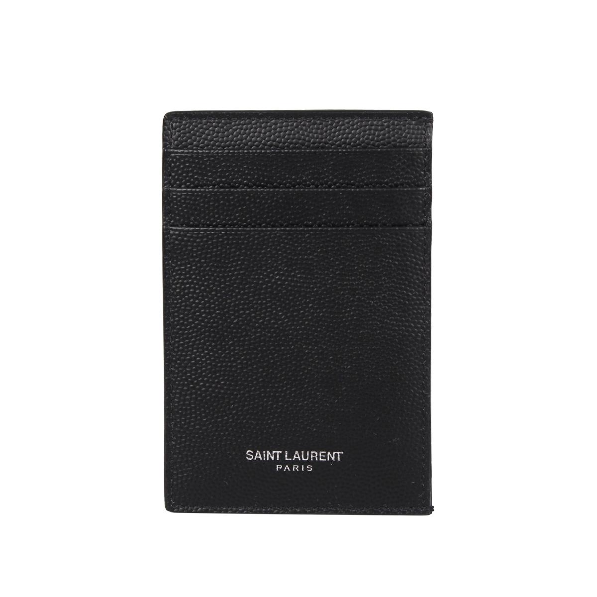SAINT LAURENT PARIS METAL-CLIP CARDHOLDER サンローラン パリ パスケース カードケース ID 定期入れ メンズ ブラック 黒 584105BTY0N