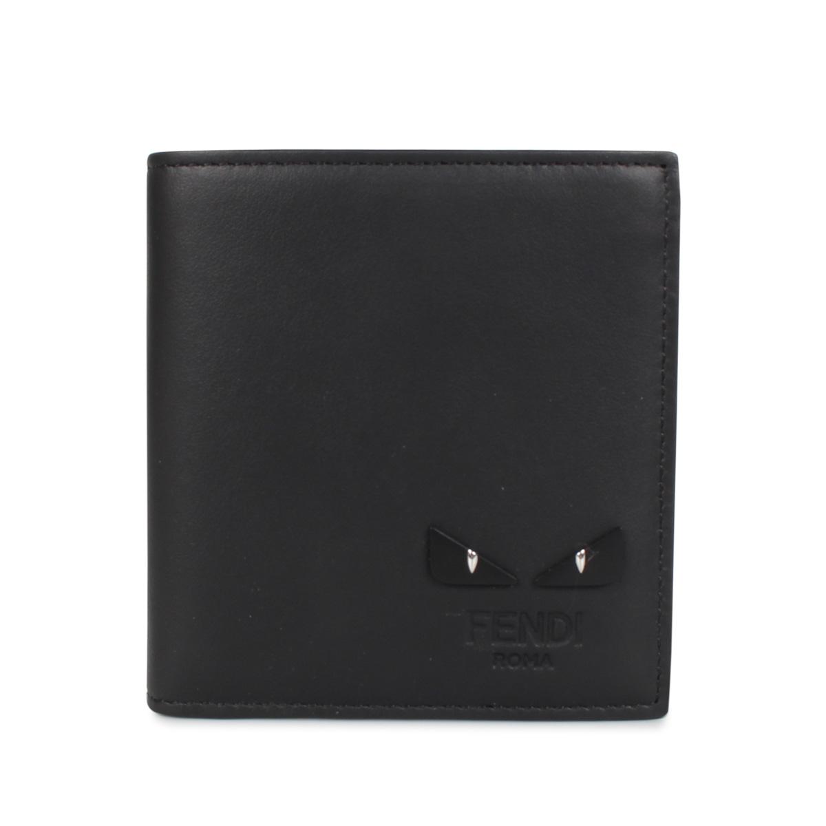 FENDI WALLET フェンディ 財布 二つ折り メンズ モンスター ブラック 黒 7M0274 6OC