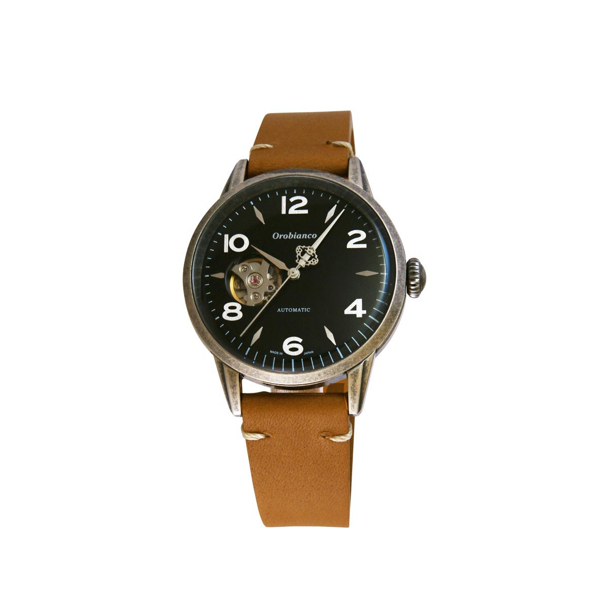 Orobianco EVOLUZIONE オロビアンコ 時計 腕時計 メンズ 自動巻き アナログ ブラック ブラウン キャメル OR0076 [5/7 追加入荷]