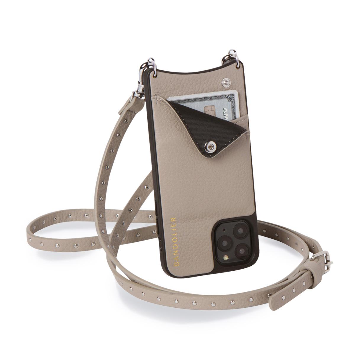 BANDOLIER iPhone SE SE2 8 7 6s 6 ケース スマホ 携帯 ショルダー アイフォン メンズ レディース レザー NICOLE GREGE グレー 10NIC
