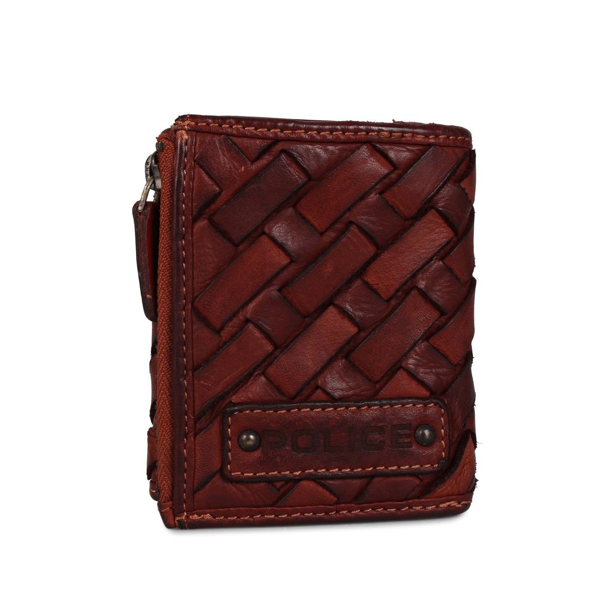 POLICE TRI-FOLD WALLET ポリス 財布 三つ折り メッシュ メンズ 本革 ブラック ネイビー ブラウン 黒 PA-70303