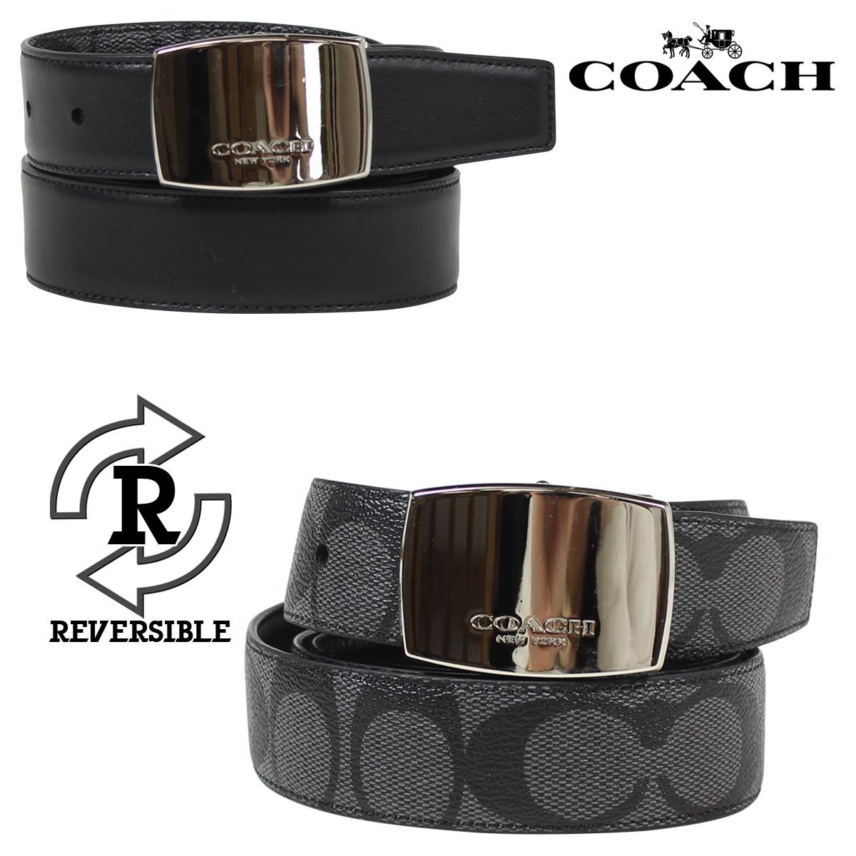 COACH コーチ メンズ ベルト レザーベルト リバーシブル 革 F64828 チャコール×ブラック [11/20 再入荷]