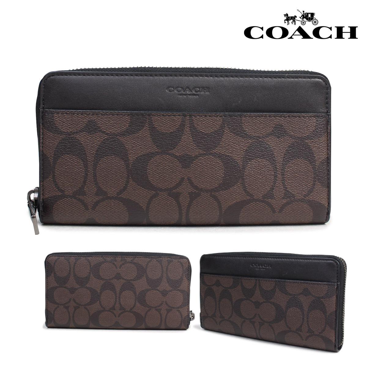 4ed214ec49 COACH coach wallet men long wallet round fastener signature F58112 brown