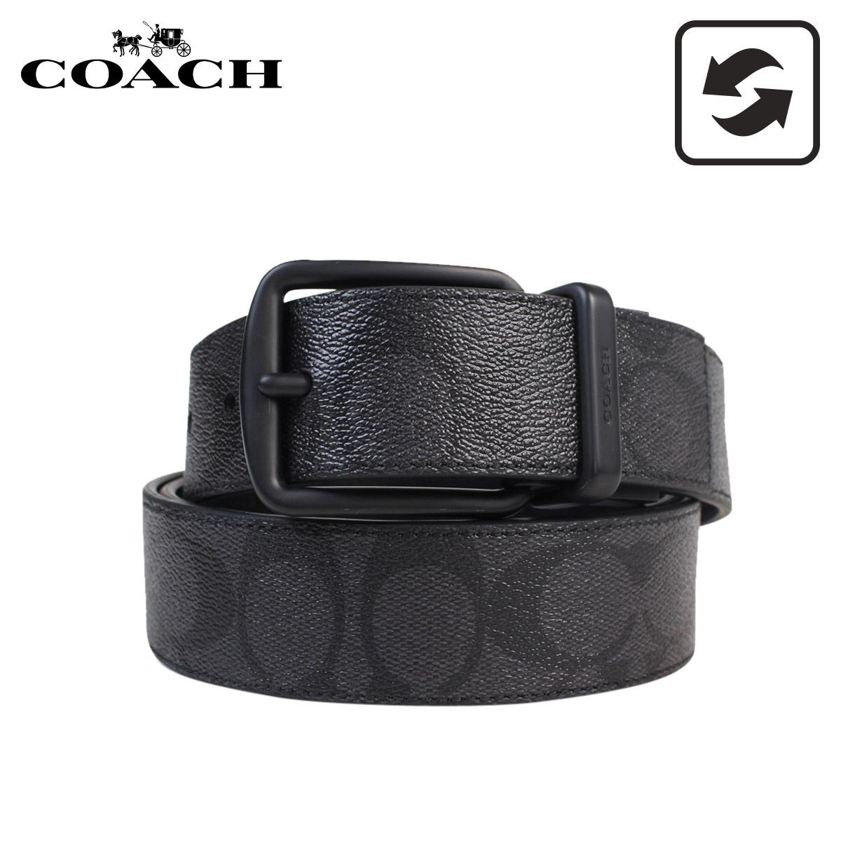 COACH F64839 BKBK コーチ ベルト メンズ 本革 レザー リバーシブル ビジネス ブラック