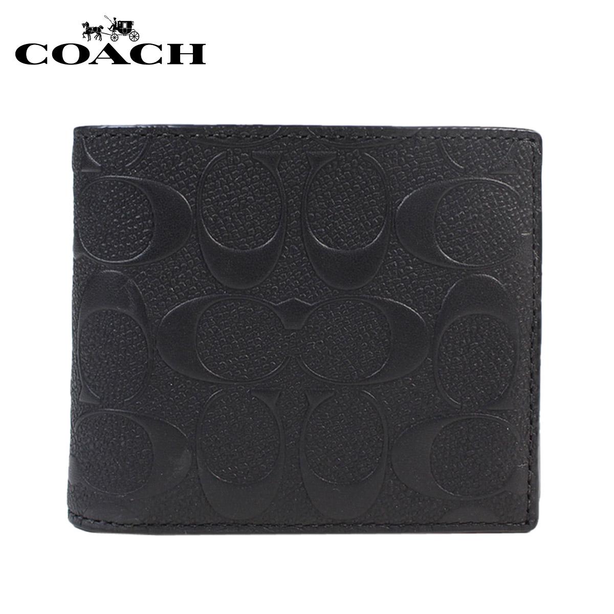 コーチ COACH 財布 メンズ 二つ折り IDケース F75371 ブラック
