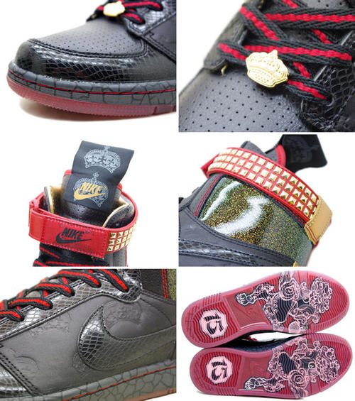 NIKE耐吉力學住宿運動鞋DYNASTY HIGH PREMIUM QK LE MIGHTY CROWN橫濱雷鬼15周年&橫濱建港一百五十年紀念型號388986-001黑色人