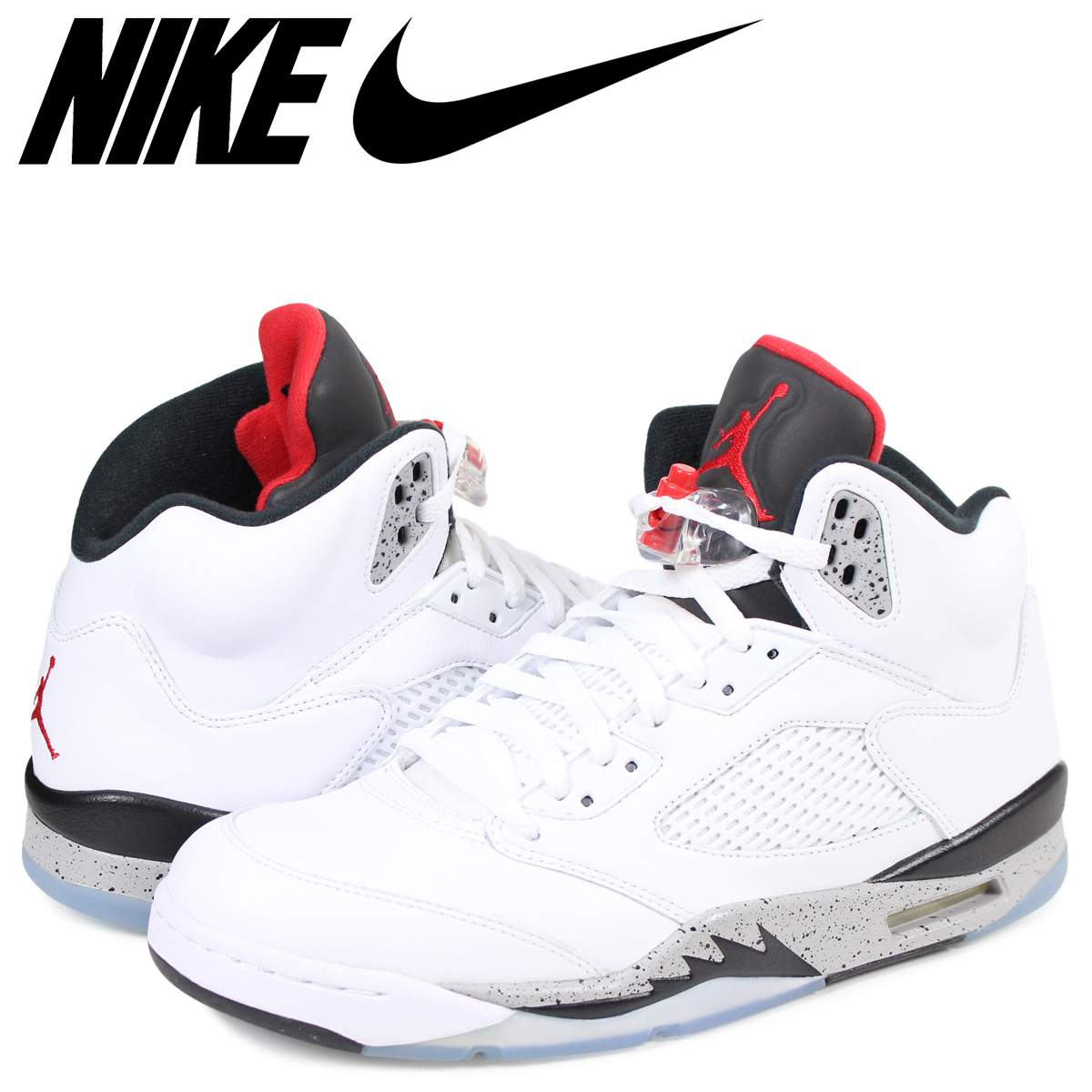 Whats up Sports  NIKE AIR JORDAN 5 RETRO WHITE CEMENT Nike Air Jordan 5  nostalgic sneakers men white 136 8c9ef7ea5