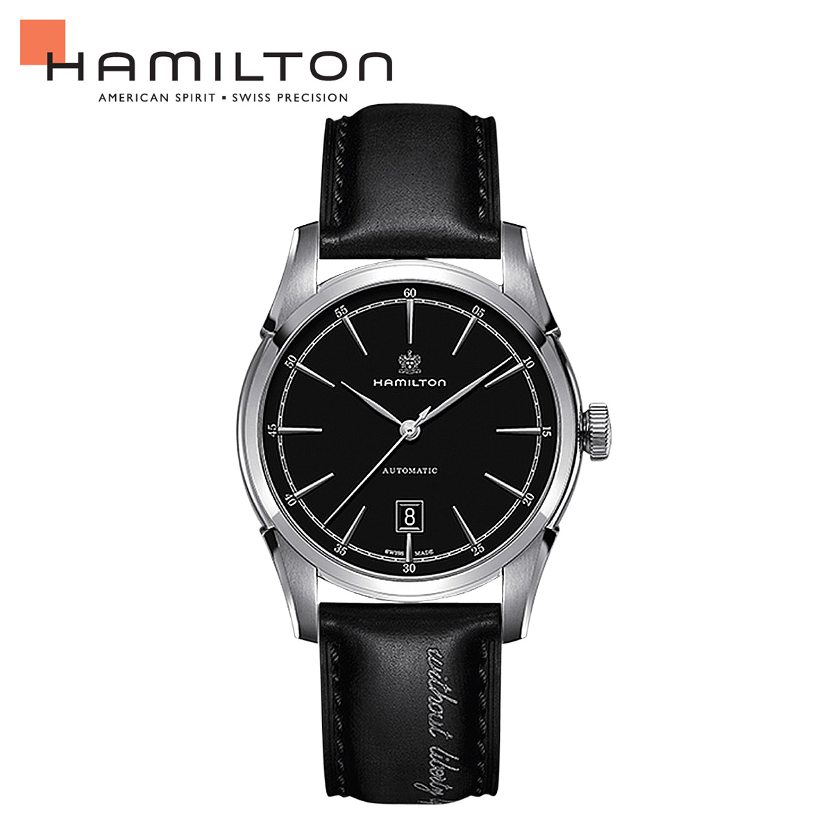 ハミルトン HAMILTON 腕時計 アメリカン クラシック メンズ 時計 43mm AMERICAN CLASSIC SPIRIT OF LIBERTY AUTO H42415731 ブラック 防水 [ あす楽対象外 ]