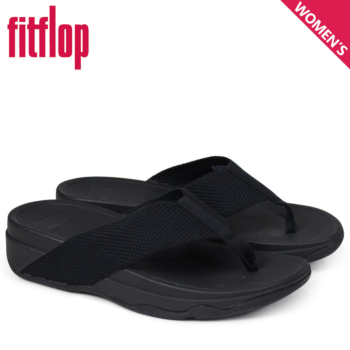 2d31ae3c390c FitFlop fitting FLOP surfer sandals Lady s SURFA TOE POST SANDALS black H84