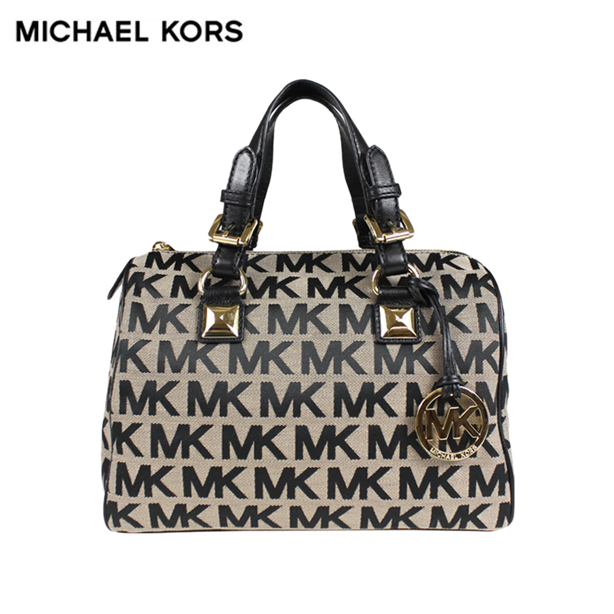 Michael Kors Bag Handbag Boston 35h4ggys2j Beige Black Lady S