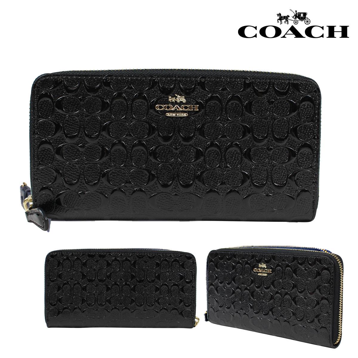 COACH F54805 コーチ 財布 長財布 レディース ラウンドファスナー レザー シグネチャー ブラック