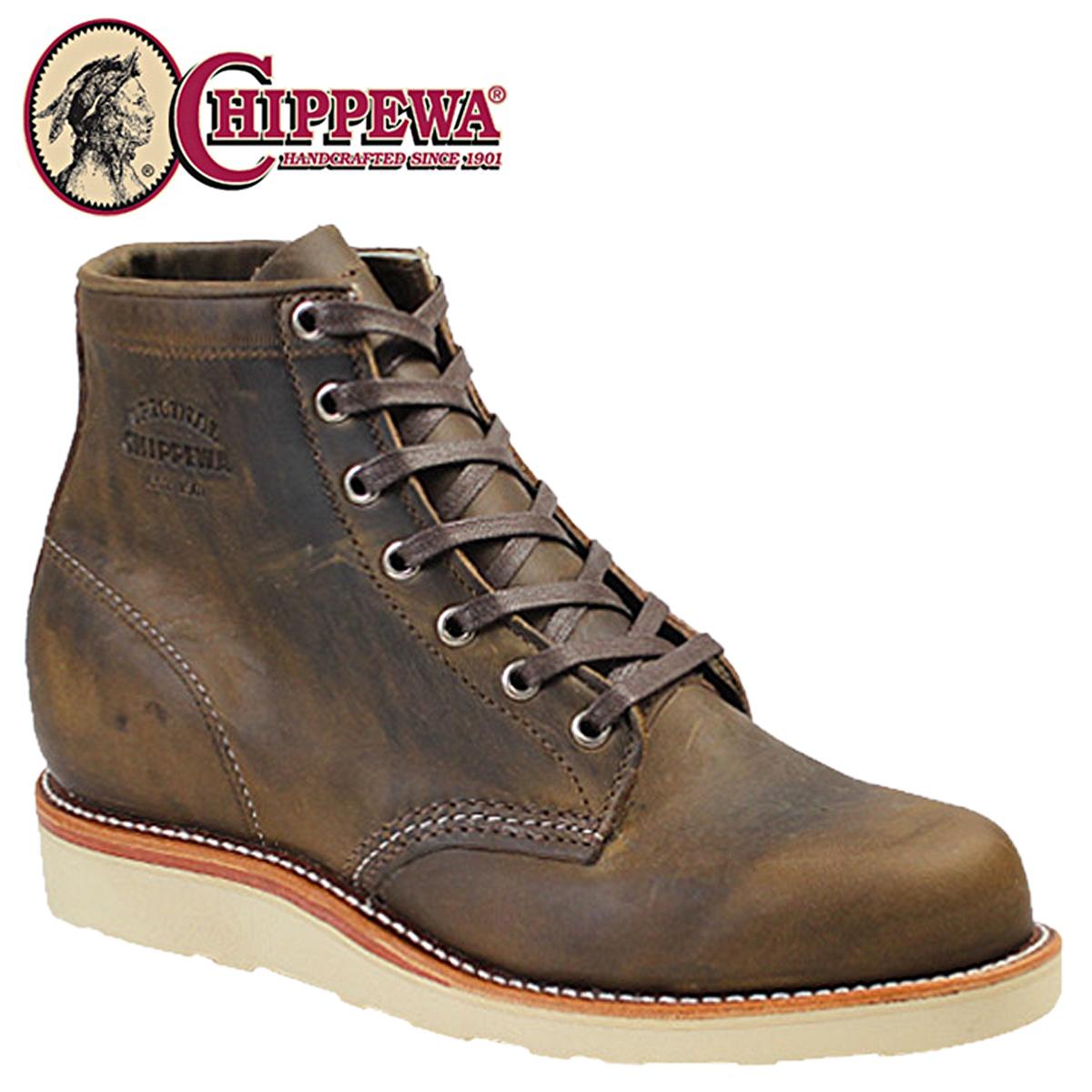 CHIPPEWA 6INCH PLAIN TOE WEDGE チペワ 6インチ プレーン トゥ ウェッジ ブーツ タン 1901M18 Dワイズ レザー BOOTS メンズ