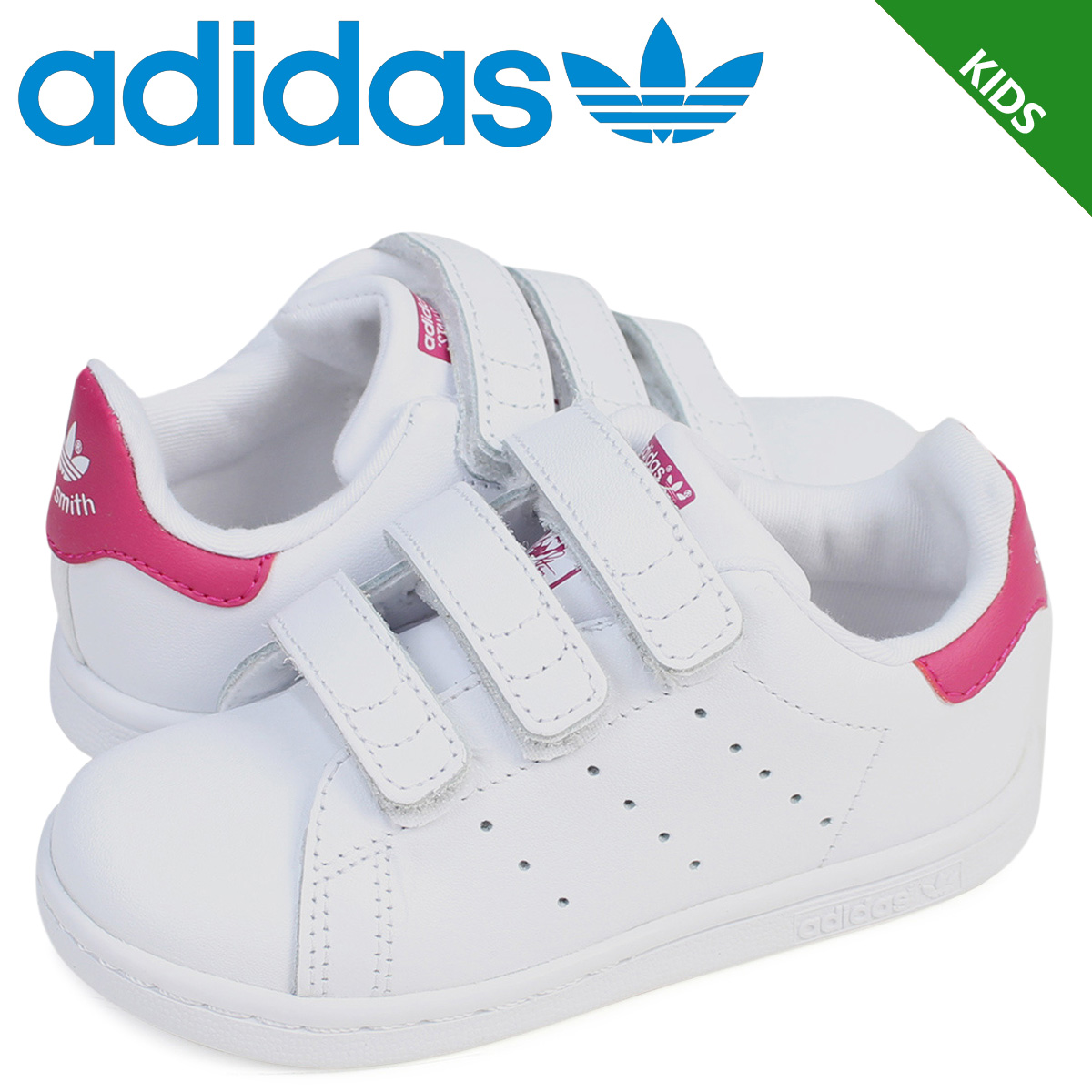 info for 5a9d4 722b5 Adidas Stan Smith Velcro kids baby adidas originals sneakers STAN SMITH CF  I BZ0523 shoes white pink [7/14 Shinnyu load]