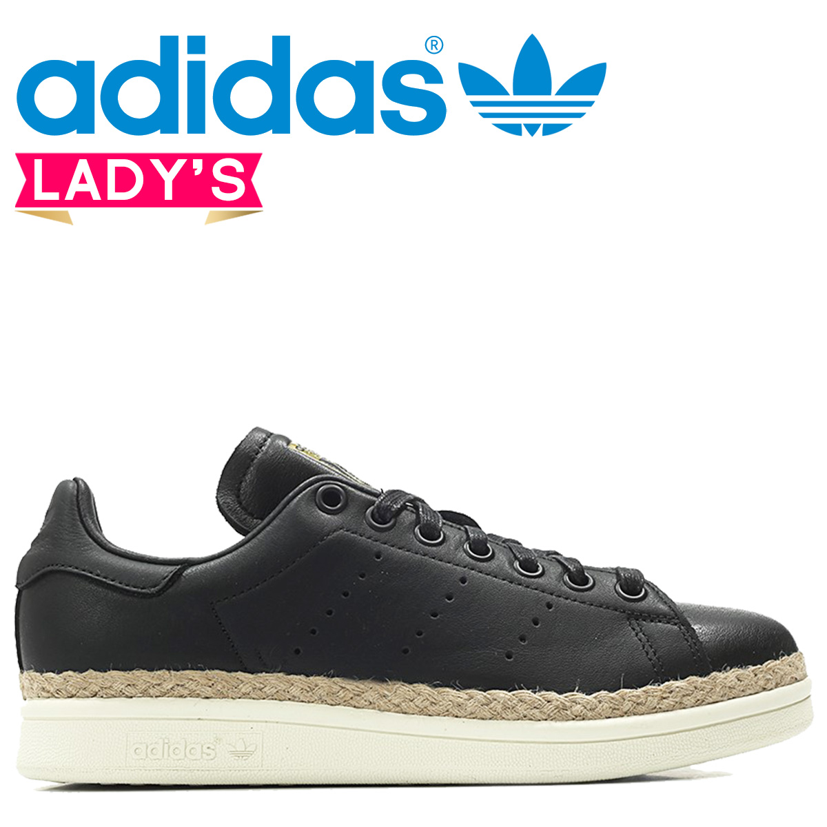 Details zu ADIDAS Stan Smith Shoes New Bold W Espadrilles Black Sneakers DA9536 Women's