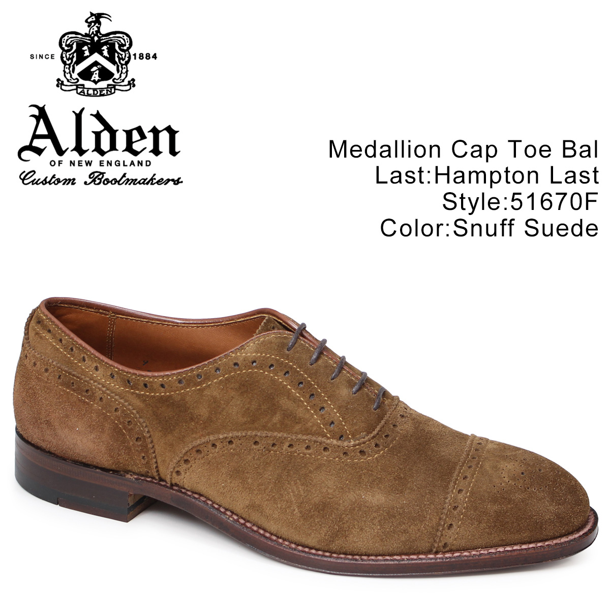 ALDEN オールデン オックスフォード メンズ シューズ MEDALLION CAP TOE Dワイズ 51670F