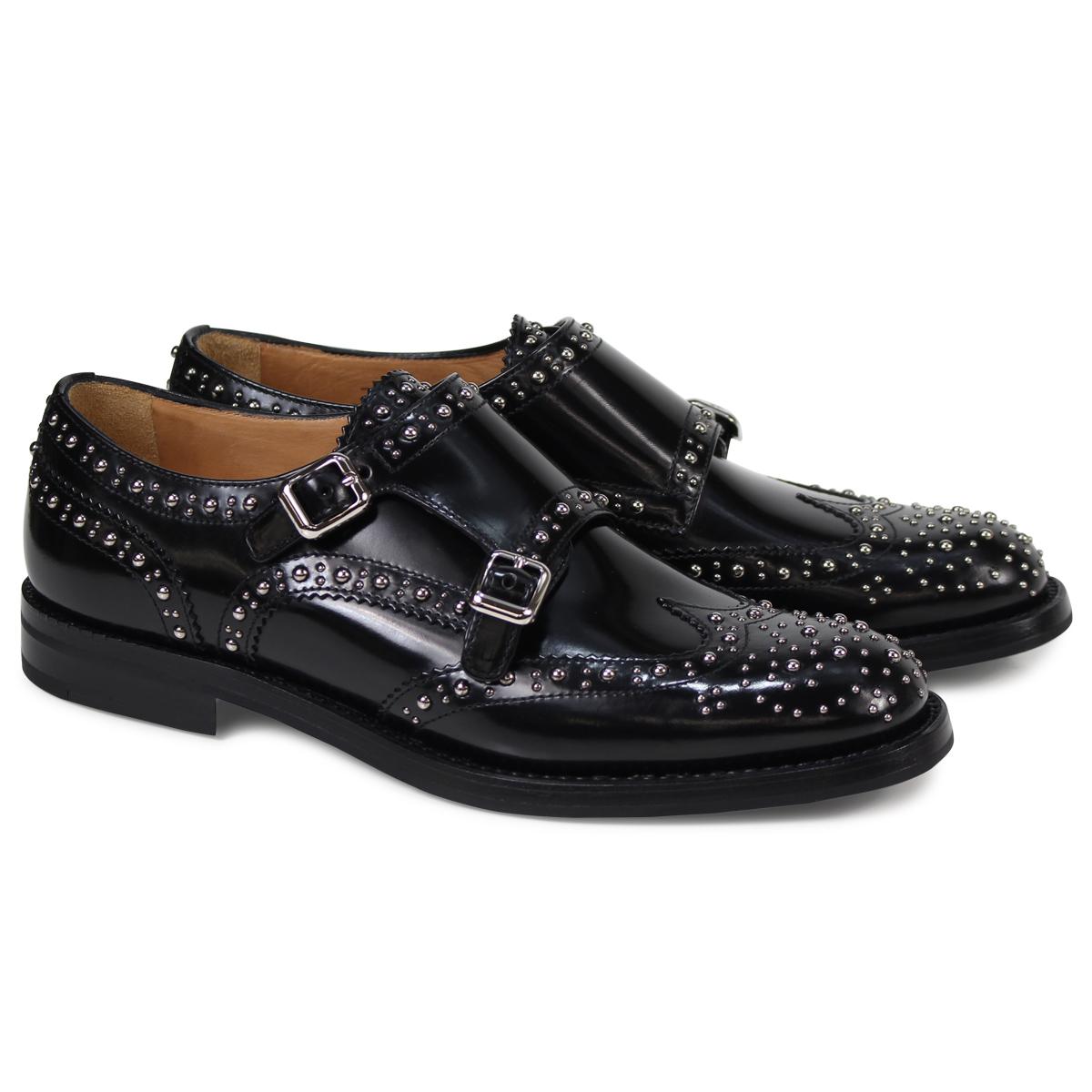 a6e24781b2cb Church s LANA MET church shoes Lady s double Monk shoes studs black DO0002   3 15 Shinnyu load