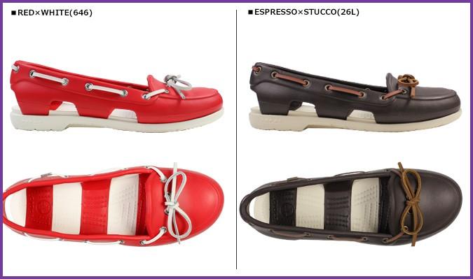 crocs鐘表女士海灘線小船鞋BEACH LINE BOAT SHOE交叉燈甲板鞋涼鞋14261 13彩色戶外