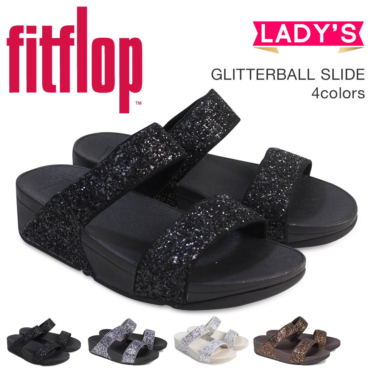 90d3a9c3e60 FitFlop sandals fitting FLOP glitter slide GLITTERBALL SLIDE H24 Lady s   4 4 Shinnyu load