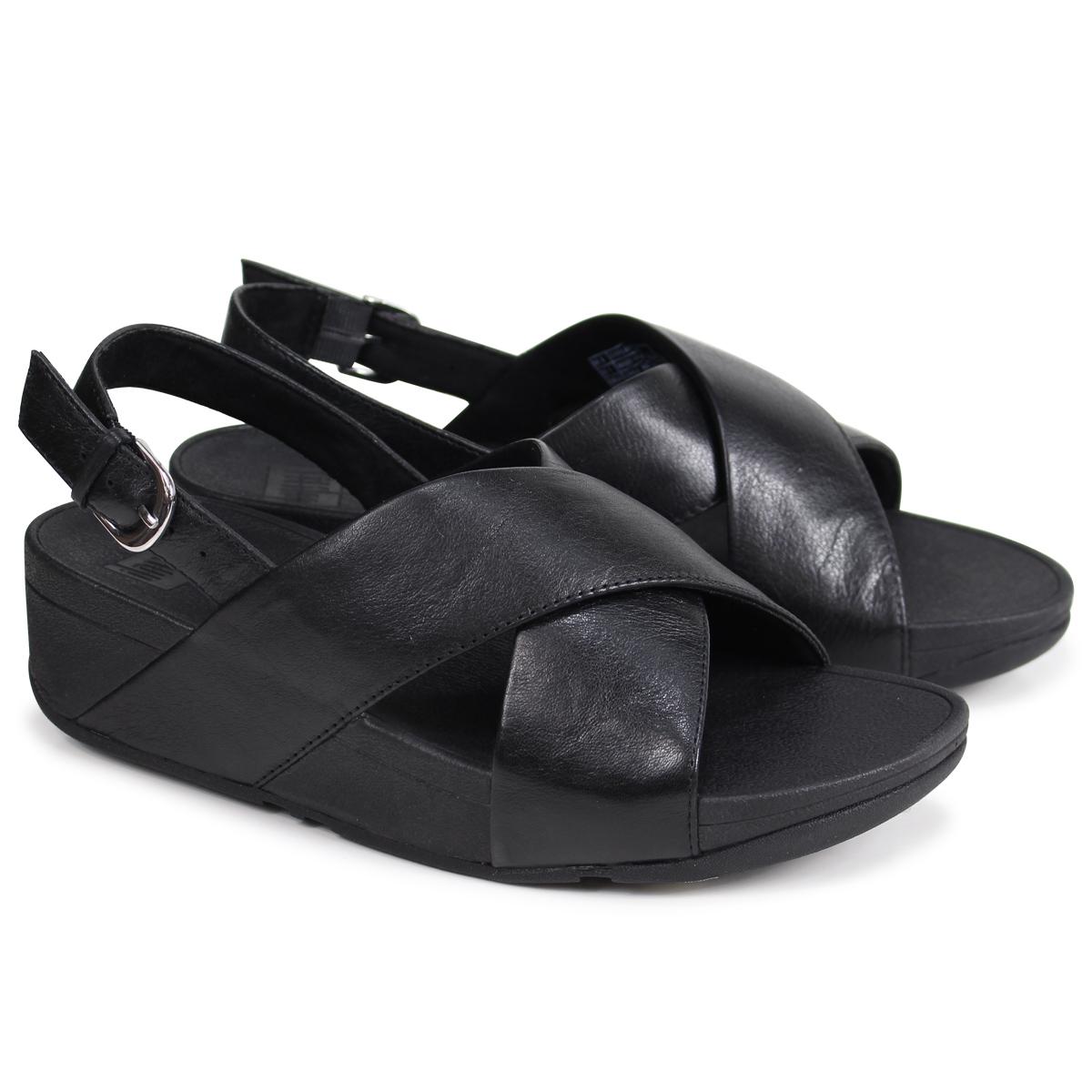 210b76654799c4 FitFlop LULU CROSS BACK-STRAP SANDALS LEATHER sandals fitting FLOP Lulu  Lady s K03 black  4 4 Shinnyu load