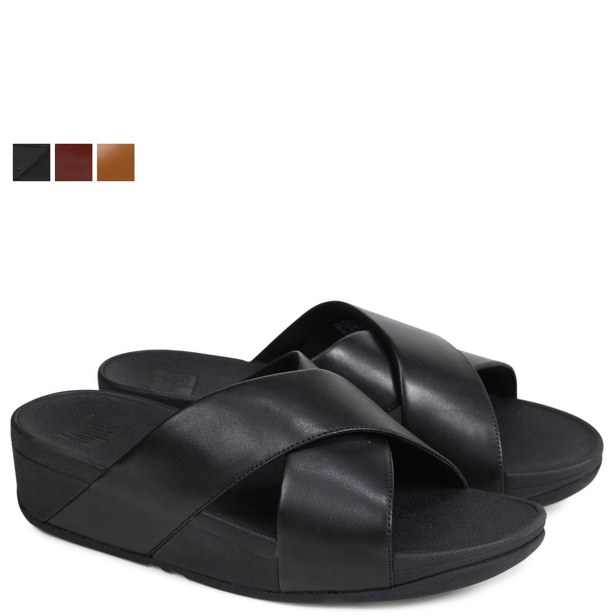 0ebc662a2 FitFlop LULU CROSS SLIDE SANDALS sandals fitting FLOP Lulu Lady s K04 black  brown  4 4 Shinnyu load
