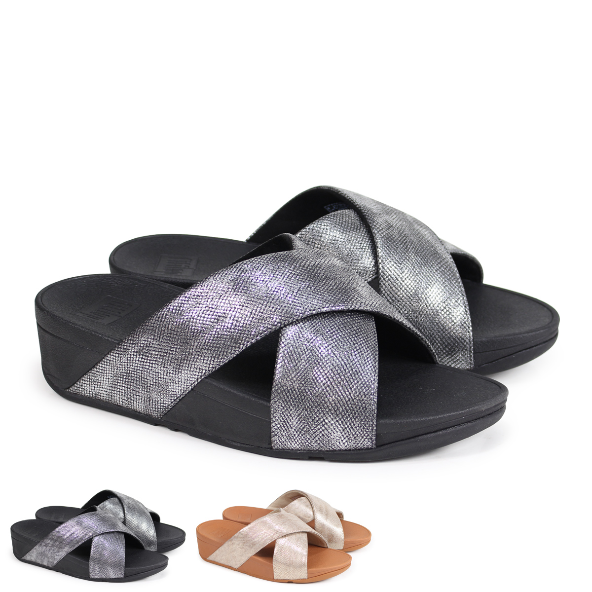 d9066abb400bf Whats up Sports  FitFlop LULU CROSS SLIDE SANDALS SHIMMER-PRINT ...