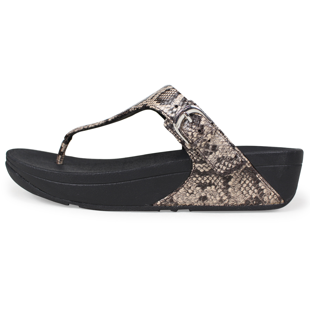 1ae455c2a1e5 FitFlop SKINNY TOE-THONG SANDALS SNAKE PRINT LEATHER sandals fitting FLOPS  Kinney Lady s L69 black  4 4 Shinnyu load