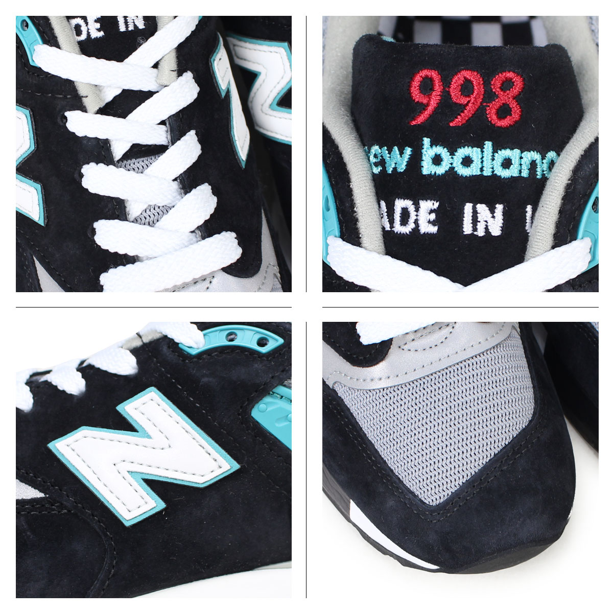 huge discount 19fbb 72d52 New Balance 998 men's new balance sneakers M998CBB D Wise MADE IN USA shoes  black