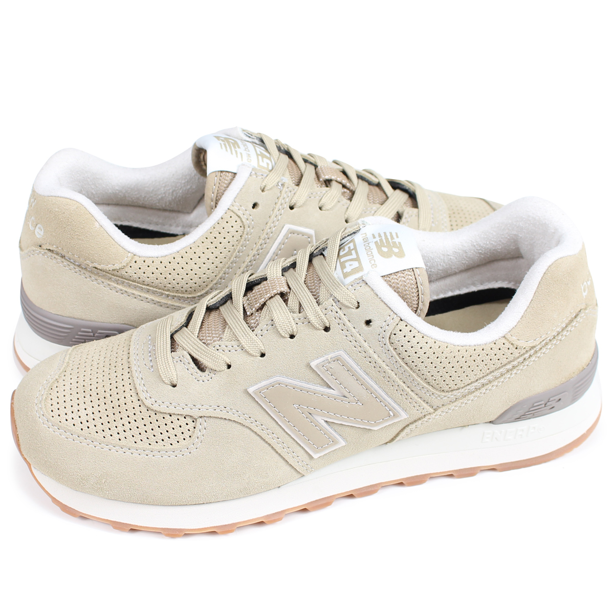 beautiful in colour lace up in largest selection of 2019 new balance ML574ESF New Balance 574 men's sneakers D Wise beige