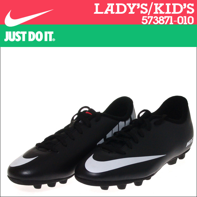 NIKE Nike football spike soccer shoes Womens kids MERCURIAL VORTEX FG GS PS  573871-010 black
