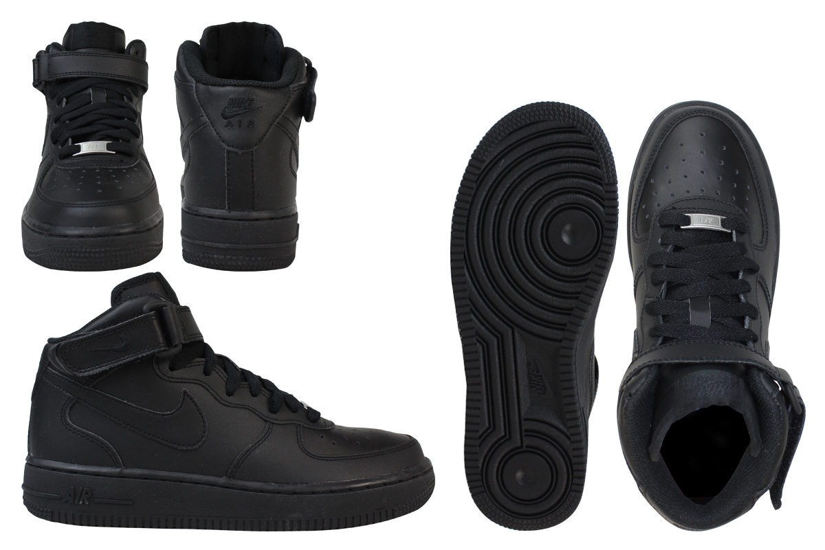 NIKE Nike Air Force sneakers Womens AIR FORCE 1 MID GS air force 1 mid 314195 004 shoes black