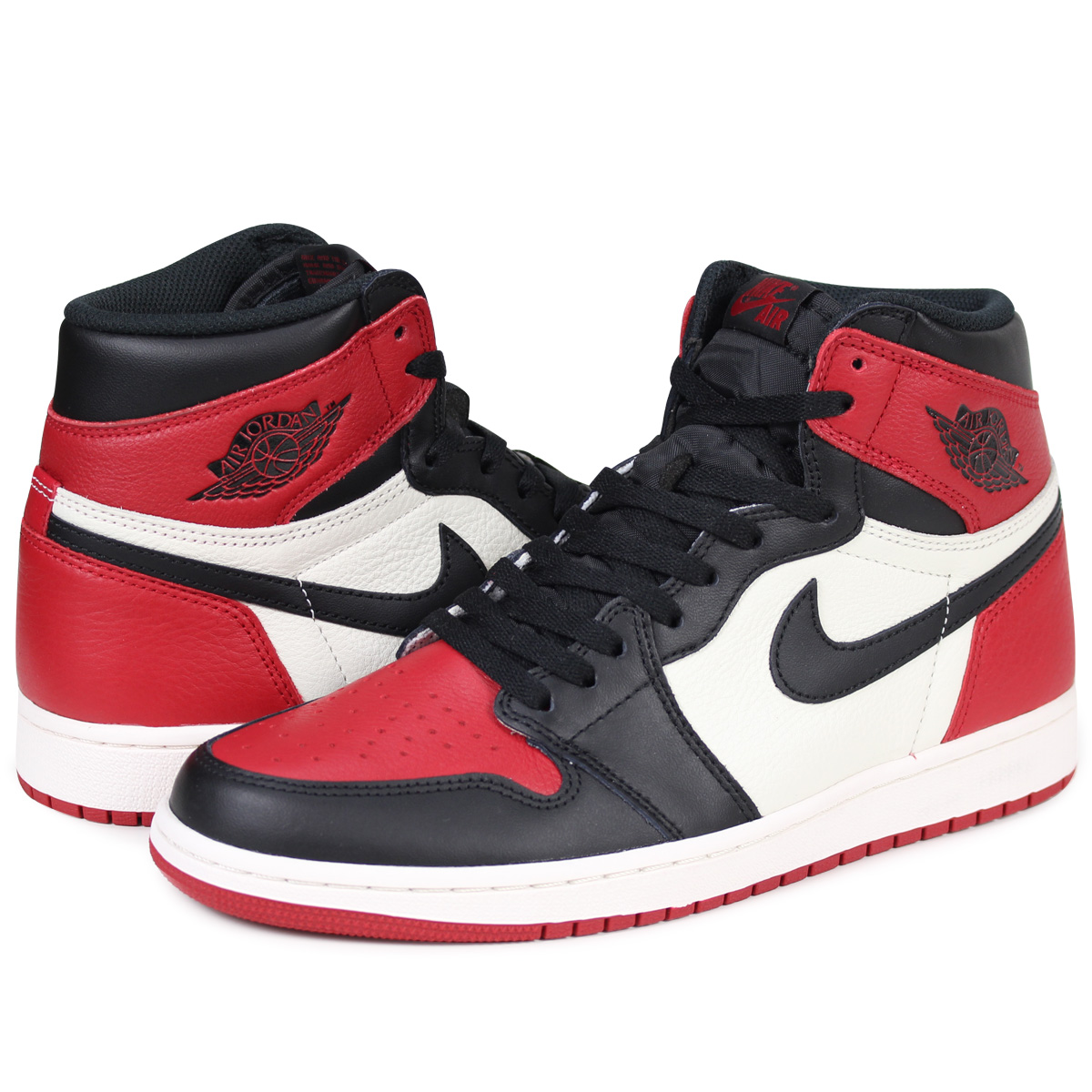 bc31a952c32b71 NIKE AIR JORDAN 1 RETRO HIGH OG BRED TOE Nike Air Jordan 1 nostalgic high  sneakers men 555