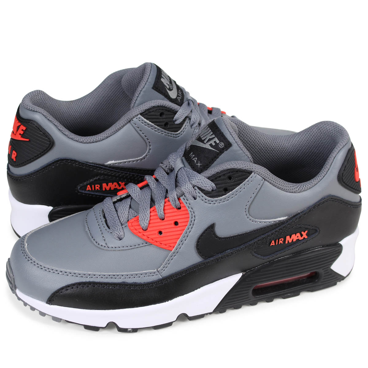 reputable site 8ac36 5af3e NIKE AIR MAX 90 LEATHER GS Kie Ney AMAX 90 Lady's sneakers 833,412-010 gray  [load planned Shinnyu load in reservation product 2/14 containing]