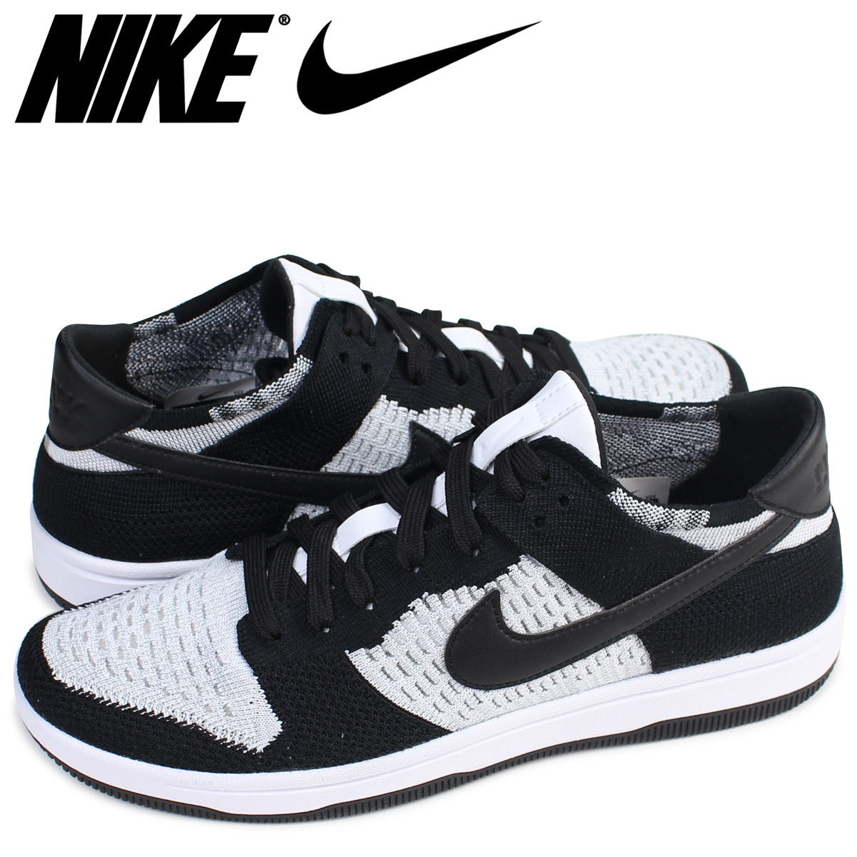 Nike NIKE dunk loaf rye knit sneakers DUNK LOW FLYKNIT 917,746-100 men's  shoes black [8/9 Shinnyu load]