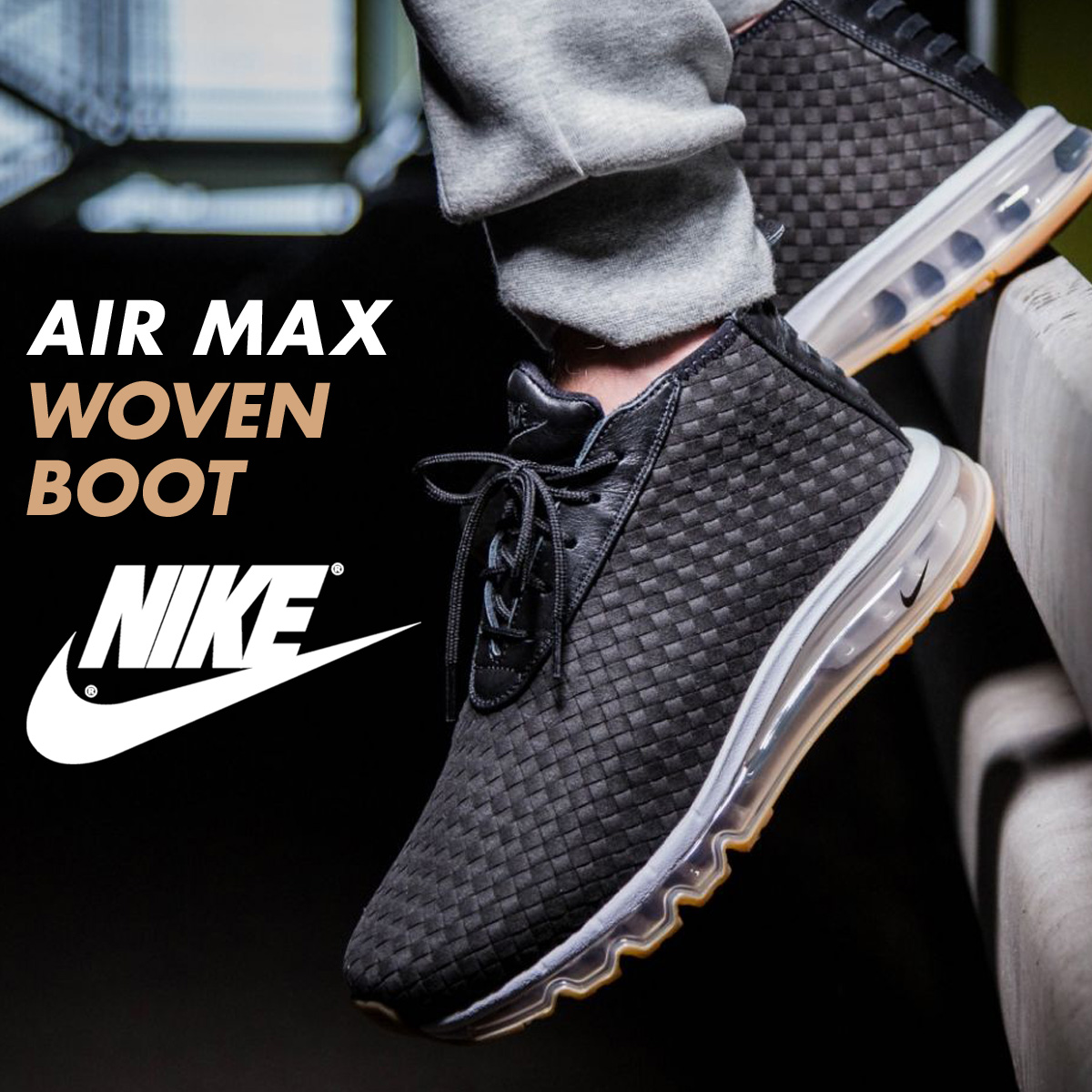 94c02519ed910 ... Nike NIKE Air Max sneakers AIR MAX WOVEN BOOT 921,854-003 men's shoes  black ...